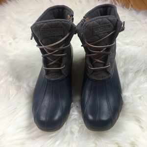 Sperry Waterproof Duct Rain Boots Navy Gray 9.5